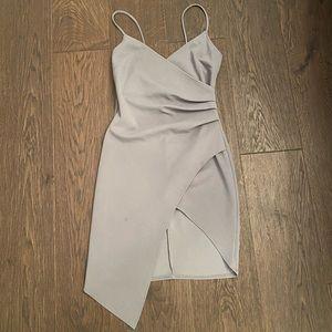 Mendacino grey high-low slit dress
